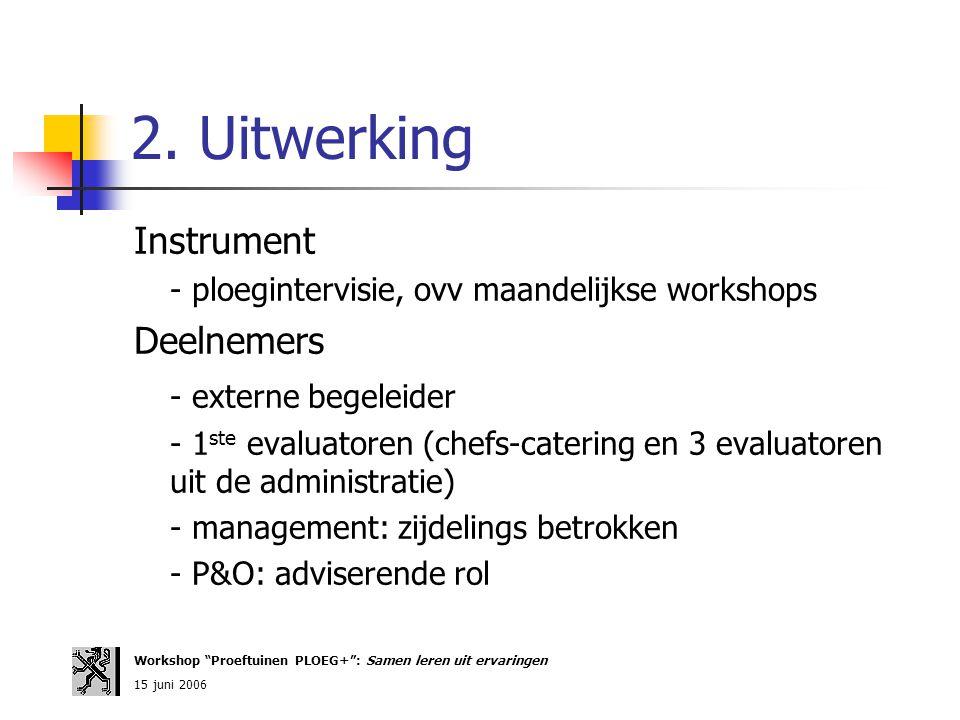 2. Uitwerking Instrument - ploegintervisie, ovv maandelijkse workshops Deelnemers - externe begeleider - 1 ste evaluatoren (chefs-catering en 3 evalua