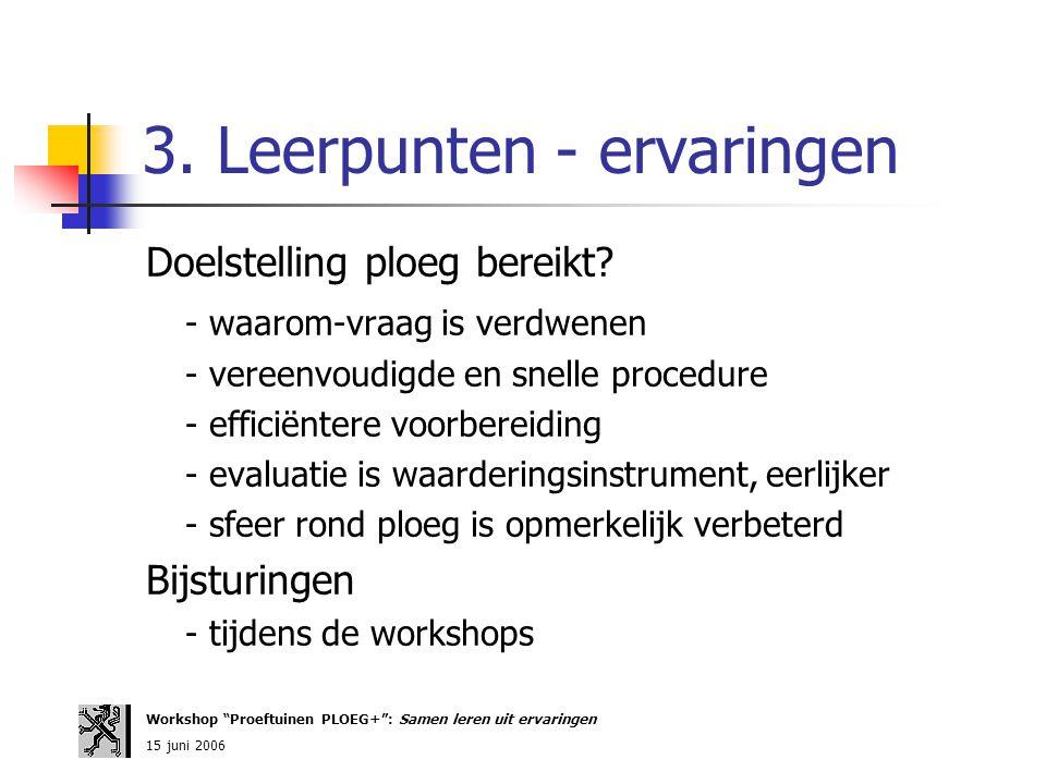 3. Leerpunten - ervaringen Doelstelling ploeg bereikt? - waarom-vraag is verdwenen - vereenvoudigde en snelle procedure - efficiëntere voorbereiding -