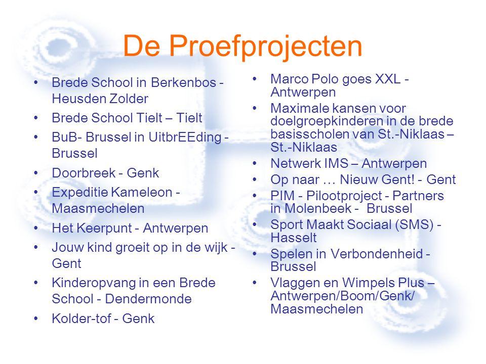 De Proefprojecten Marco Polo goes XXL - Antwerpen Maximale kansen voor doelgroepkinderen in de brede basisscholen van St.-Niklaas – St.-Niklaas Netwerk IMS – Antwerpen Op naar … Nieuw Gent.