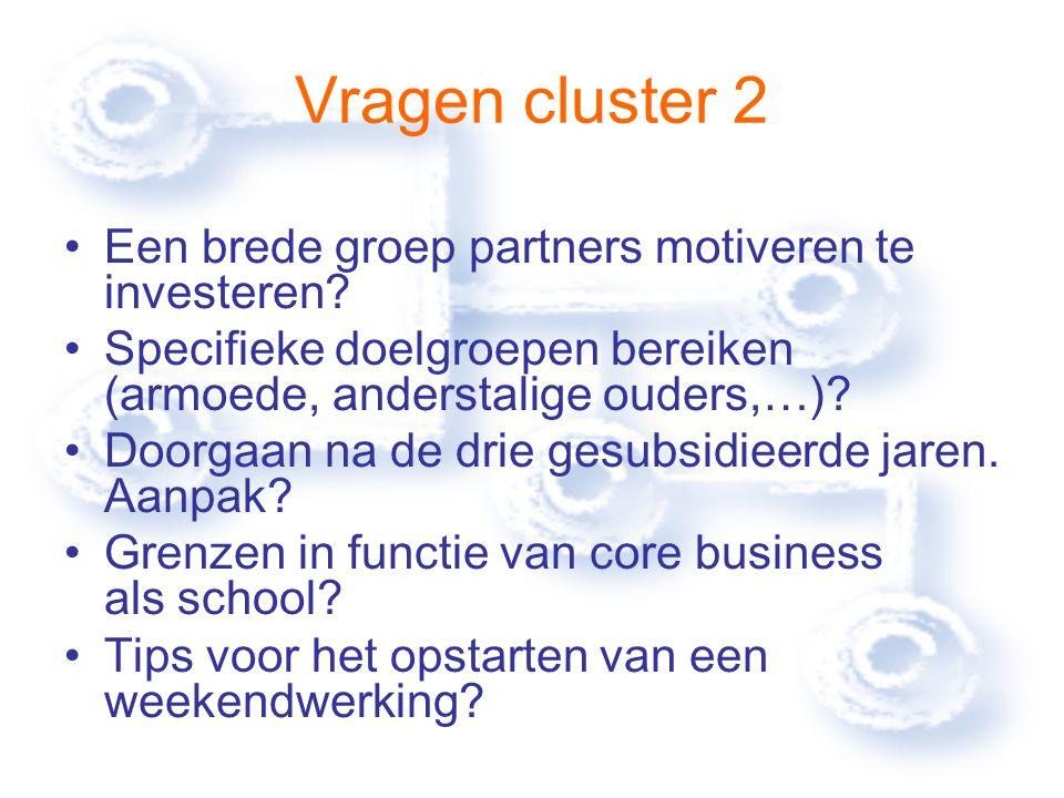 Vragen cluster 2 Een brede groep partners motiveren te investeren.