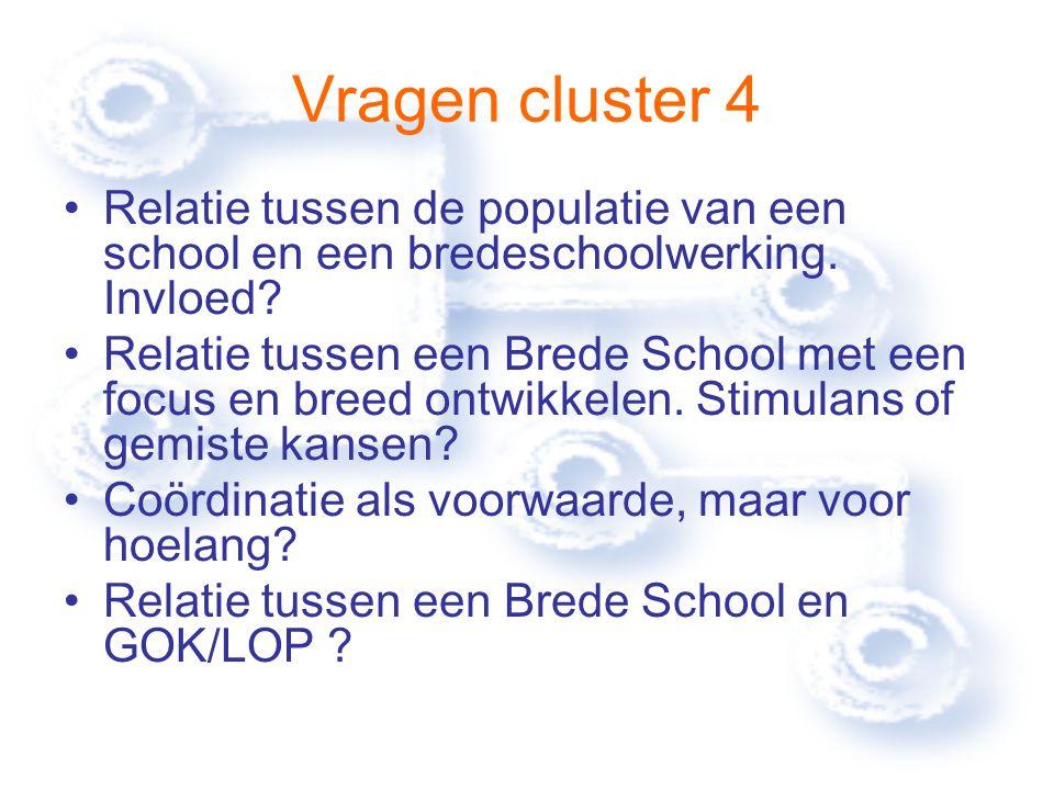 Vragen cluster 4 Relatie tussen de populatie van een school en een bredeschoolwerking.