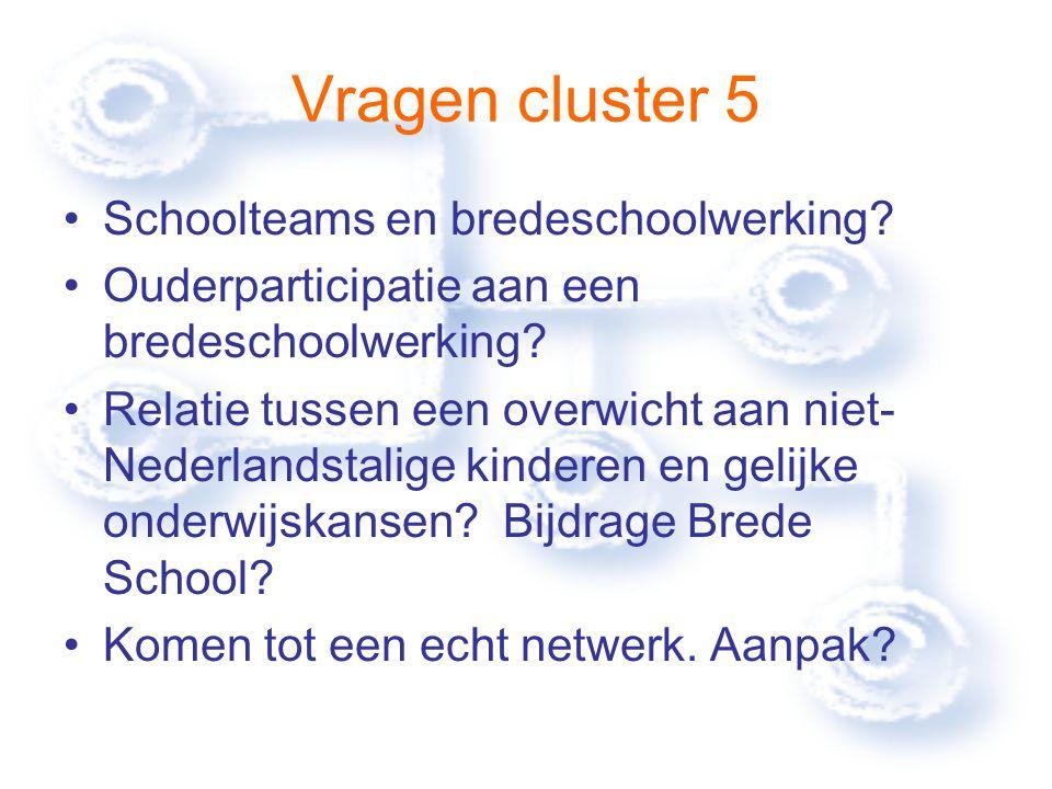 Vragen cluster 5 Schoolteams en bredeschoolwerking.