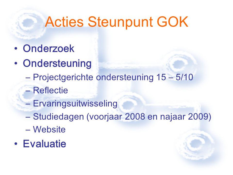 Acties Steunpunt GOK Onderzoek Ondersteuning –Projectgerichte ondersteuning 15 – 5/10 –Reflectie –Ervaringsuitwisseling –Studiedagen (voorjaar 2008 en najaar 2009) –Website Evaluatie