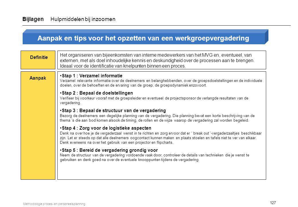 127 Methodologie proces- en personeelsplanning Definitie Aanpak Het organiseren van bijeenkomsten van interne medewerkers van het MVG en, eventueel, v