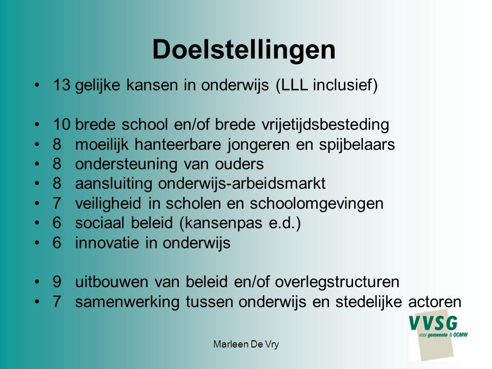 Marleen De Vry Doelstellingen 13 gelijke kansen in onderwijs (LLL inclusief) 10 brede school en/of brede vrijetijdsbesteding 8 moeilijk hanteerbare jo