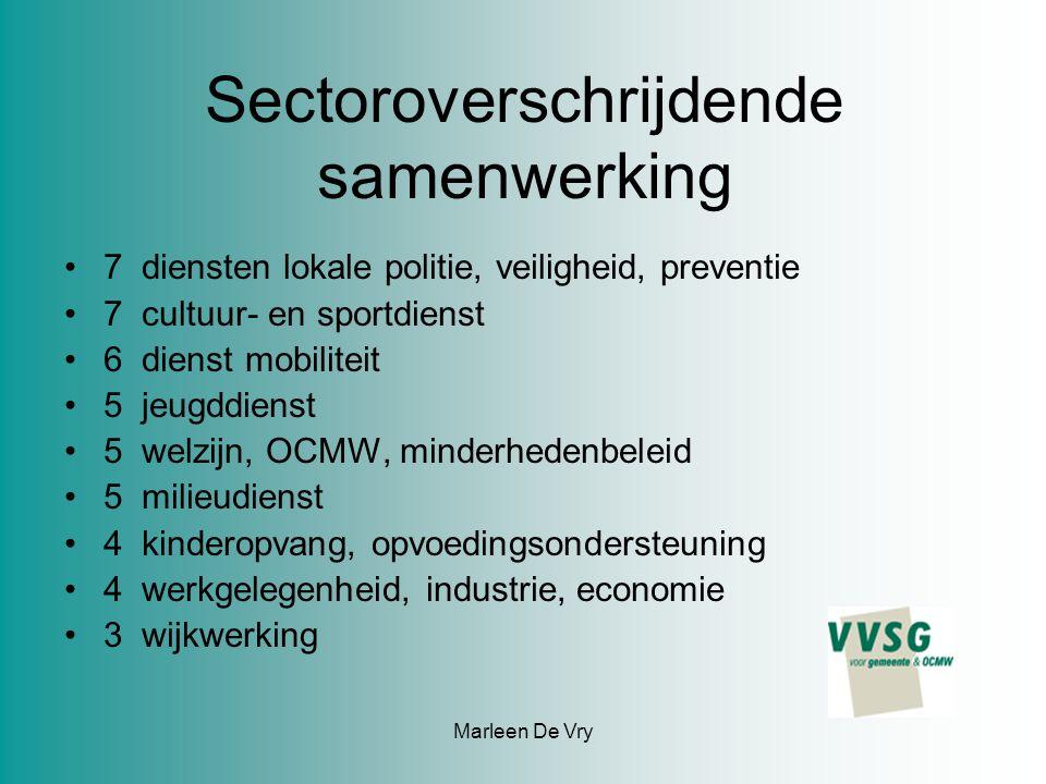 Marleen De Vry Sectoroverschrijdende samenwerking 7 diensten lokale politie, veiligheid, preventie 7 cultuur- en sportdienst 6 dienst mobiliteit 5 jeu