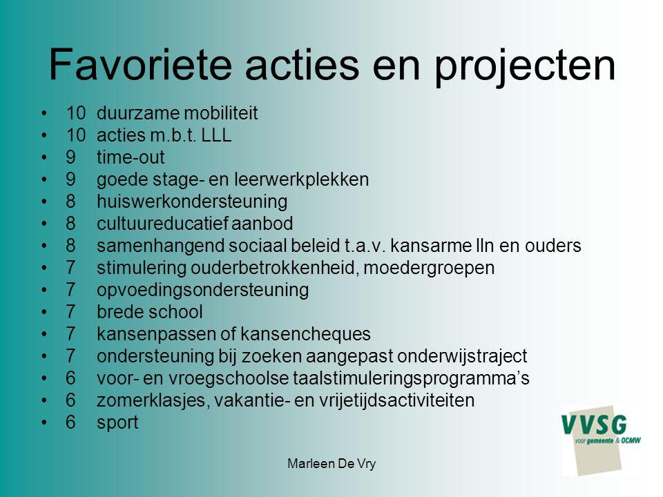 Marleen De Vry Favoriete acties en projecten 10 duurzame mobiliteit 10 acties m.b.t. LLL 9 time-out 9 goede stage- en leerwerkplekken 8 huiswerkonders