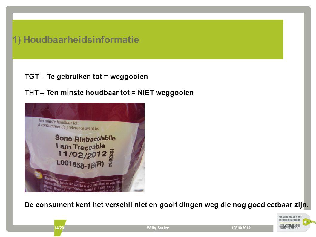 15/10/2012Willy Sarlee14/20 1) Houdbaarheidsinformatie TGT – Te gebruiken tot = weggooien THT – Ten minste houdbaar tot = NIET weggooien De consument