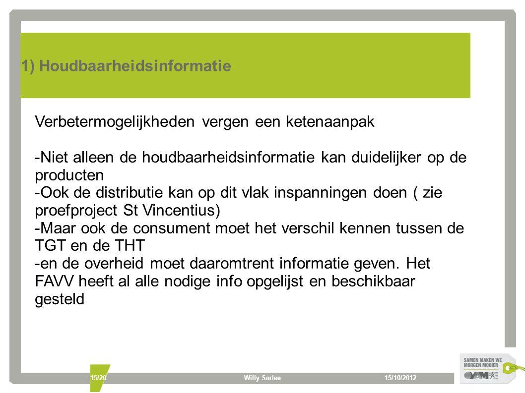15/10/2012Willy Sarlee15/20 1) Houdbaarheidsinformatie Verbetermogelijkheden vergen een ketenaanpak -Niet alleen de houdbaarheidsinformatie kan duidelijker op de producten -Ook de distributie kan op dit vlak inspanningen doen ( zie proefproject St Vincentius) -Maar ook de consument moet het verschil kennen tussen de TGT en de THT -en de overheid moet daaromtrent informatie geven.