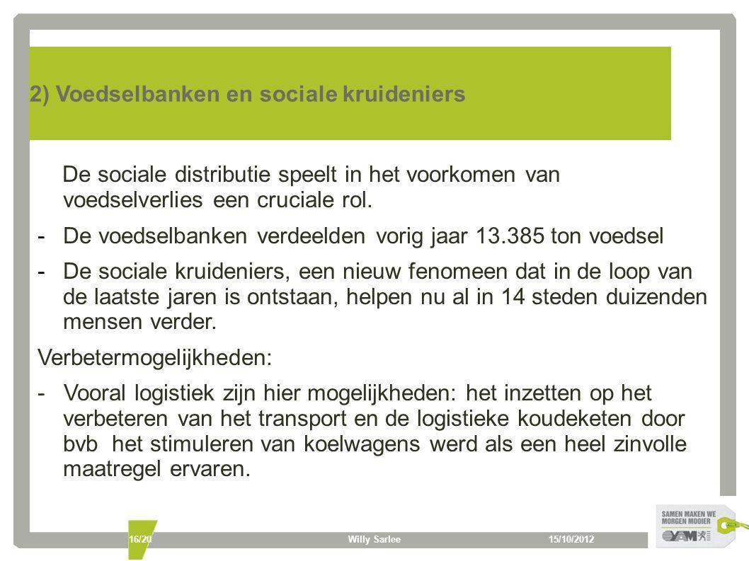 15/10/2012Willy Sarlee16/20 2) Voedselbanken en sociale kruideniers De sociale distributie speelt in het voorkomen van voedselverlies een cruciale rol.