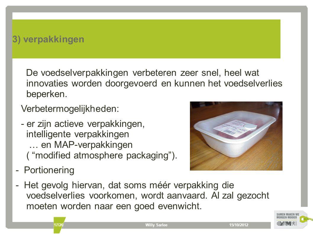 15/10/2012Willy Sarlee17/20 3) verpakkingen De voedselverpakkingen verbeteren zeer snel, heel wat innovaties worden doorgevoerd en kunnen het voedselverlies beperken.