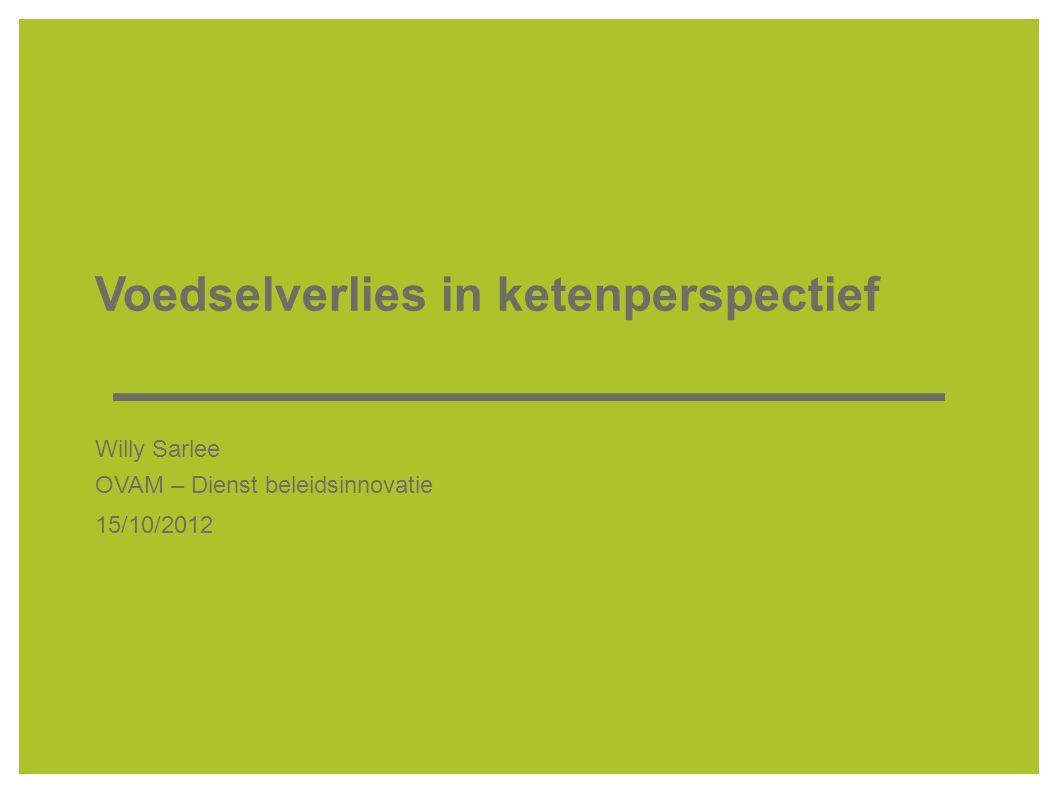 Voedselverlies in ketenperspectief Willy Sarlee OVAM – Dienst beleidsinnovatie 15/10/2012
