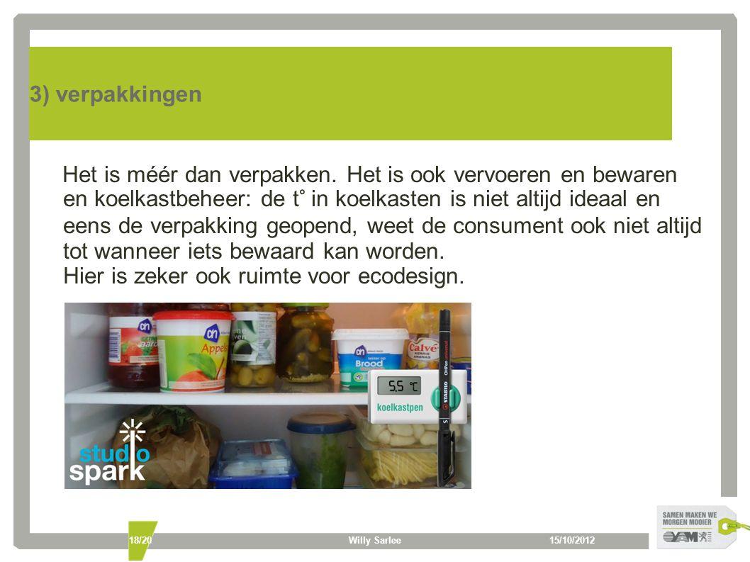 15/10/2012Willy Sarlee18/20 3) verpakkingen Het is méér dan verpakken. Het is ook vervoeren en bewaren en koelkastbeheer: de t° in koelkasten is niet