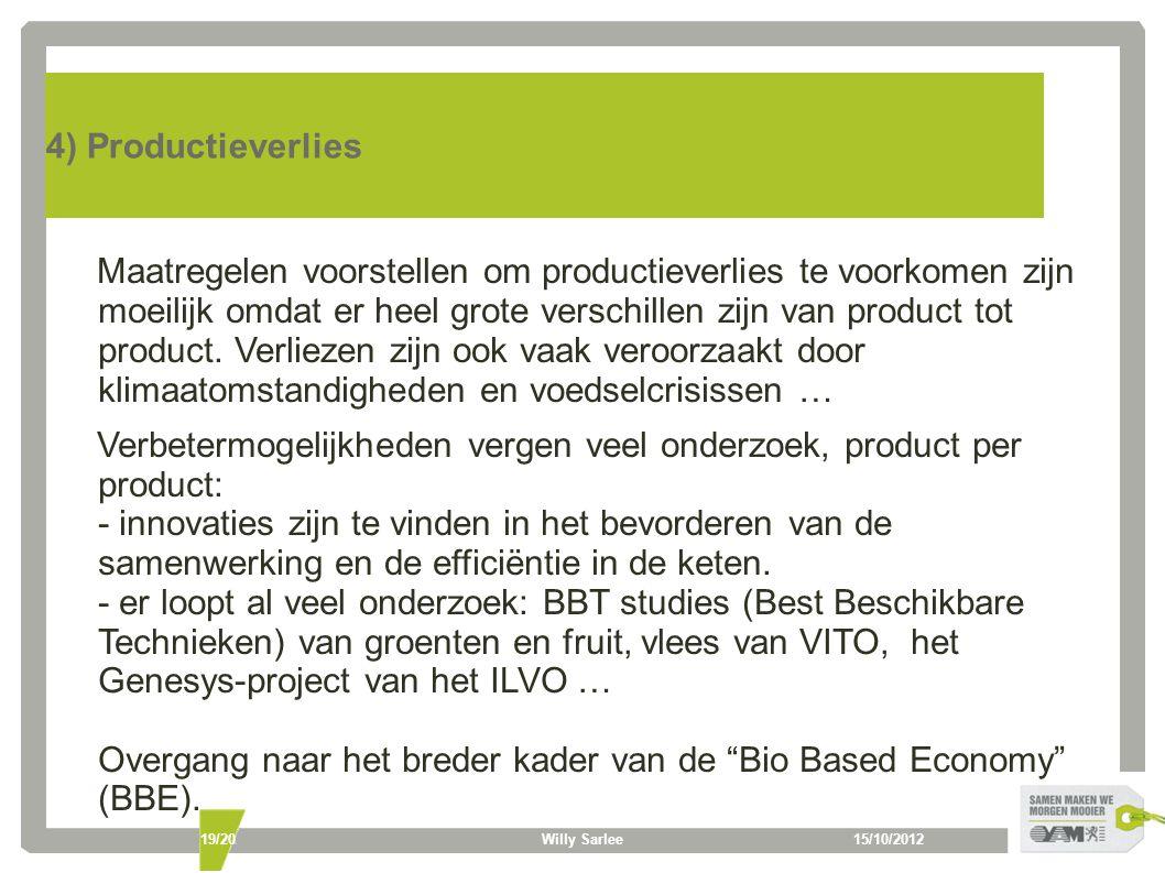 15/10/2012Willy Sarlee19/20 4) Productieverlies Maatregelen voorstellen om productieverlies te voorkomen zijn moeilijk omdat er heel grote verschillen zijn van product tot product.