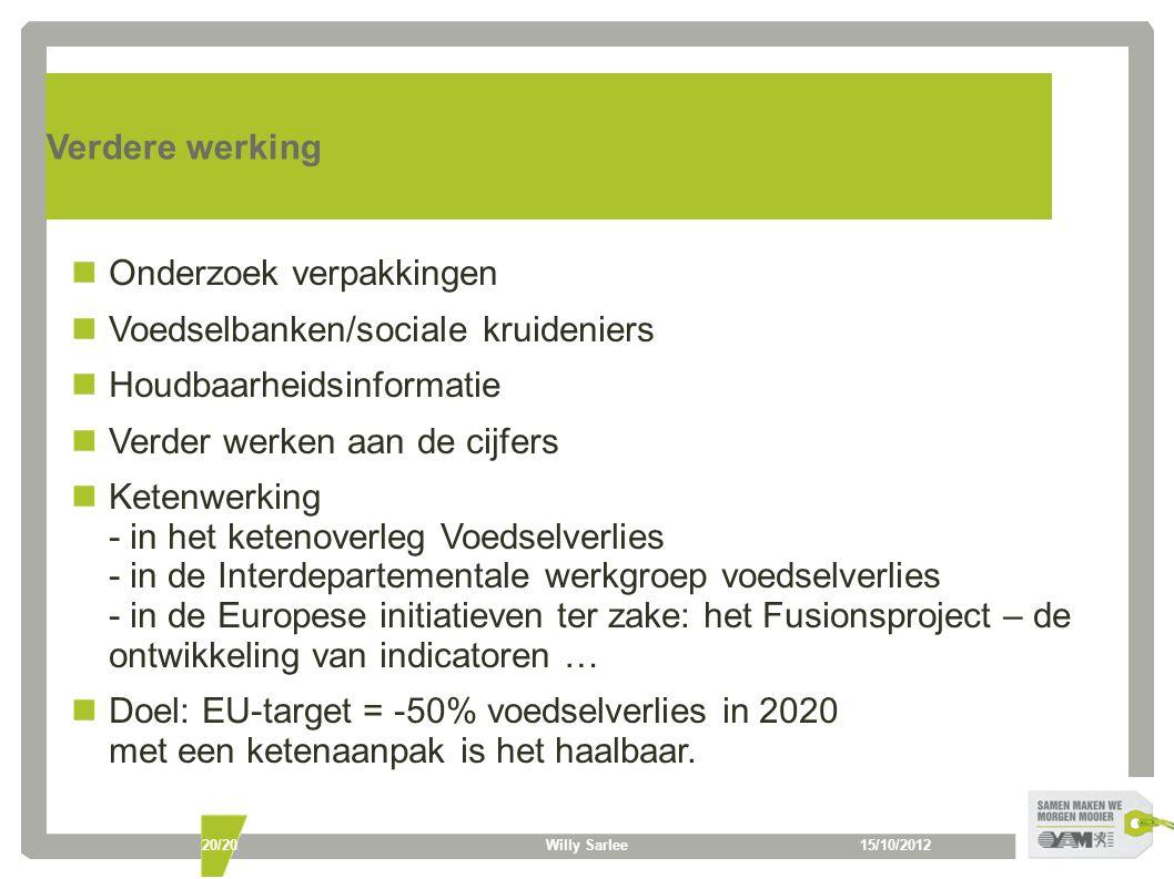 15/10/2012Willy Sarlee20/20 Verdere werking Onderzoek verpakkingen Voedselbanken/sociale kruideniers Houdbaarheidsinformatie Verder werken aan de cijfers Ketenwerking - in het ketenoverleg Voedselverlies - in de Interdepartementale werkgroep voedselverlies - in de Europese initiatieven ter zake: het Fusionsproject – de ontwikkeling van indicatoren … Doel: EU-target = -50% voedselverlies in 2020 met een ketenaanpak is het haalbaar.