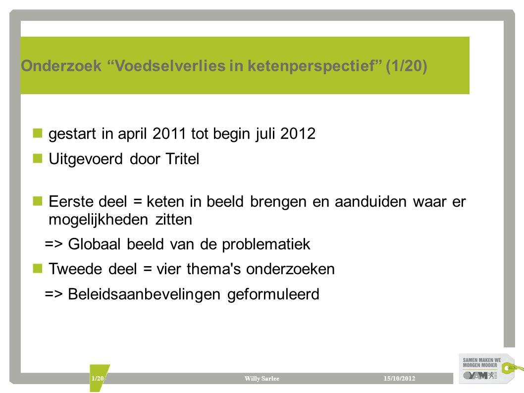 """Willy Sarlee1/20 Onderzoek """"Voedselverlies in ketenperspectief"""" (1/20) gestart in april 2011 tot begin juli 2012 Uitgevoerd door Tritel Eerste deel ="""