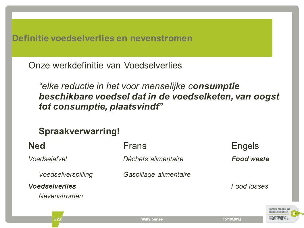 """15/10/2012Willy Sarlee3/20 Definitie voedselverlies en nevenstromen Onze werkdefinitie van Voedselverlies """"elke reductie in het voor menselijke consum"""