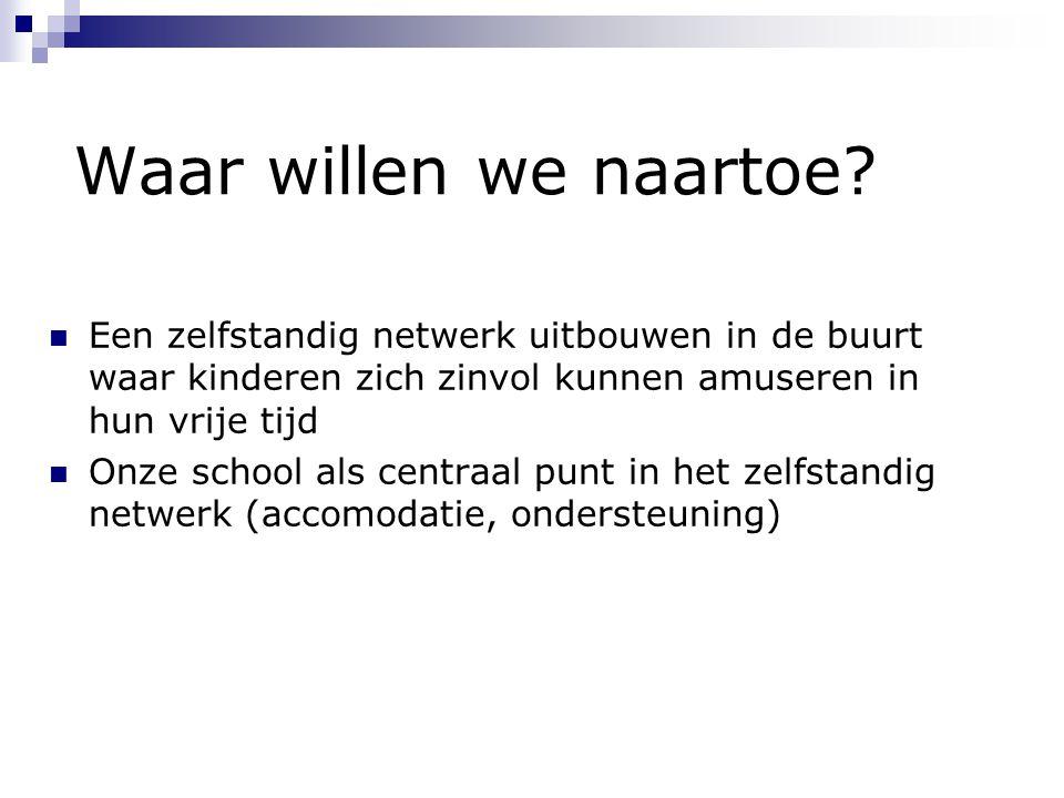 Waar willen we naartoe? Een zelfstandig netwerk uitbouwen in de buurt waar kinderen zich zinvol kunnen amuseren in hun vrije tijd Onze school als cent