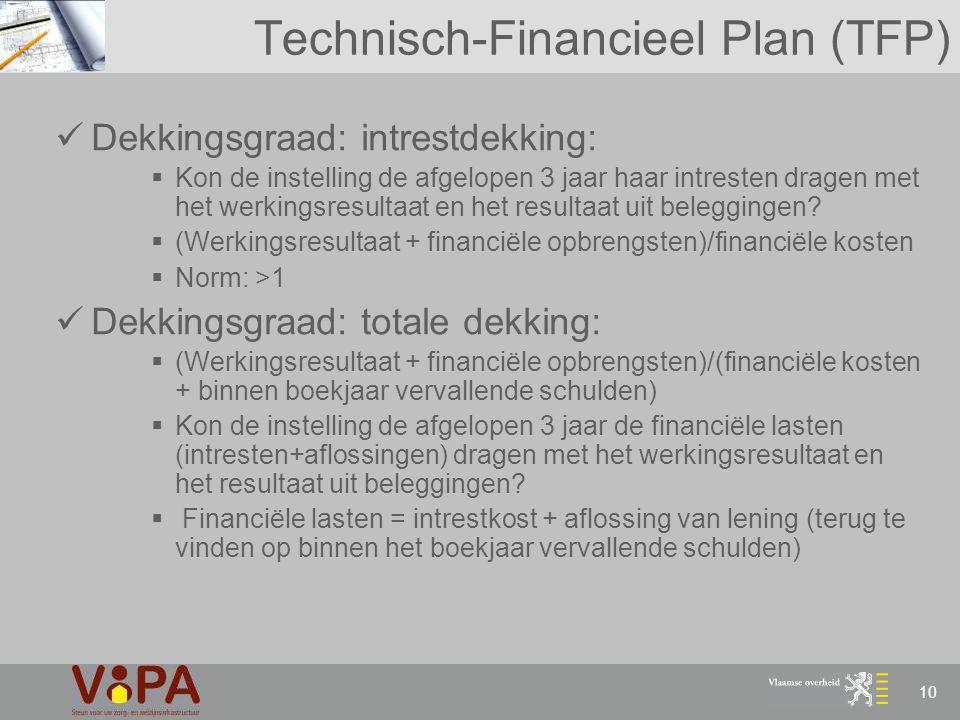 10 Technisch-Financieel Plan (TFP) Dekkingsgraad: intrestdekking:  Kon de instelling de afgelopen 3 jaar haar intresten dragen met het werkingsresult