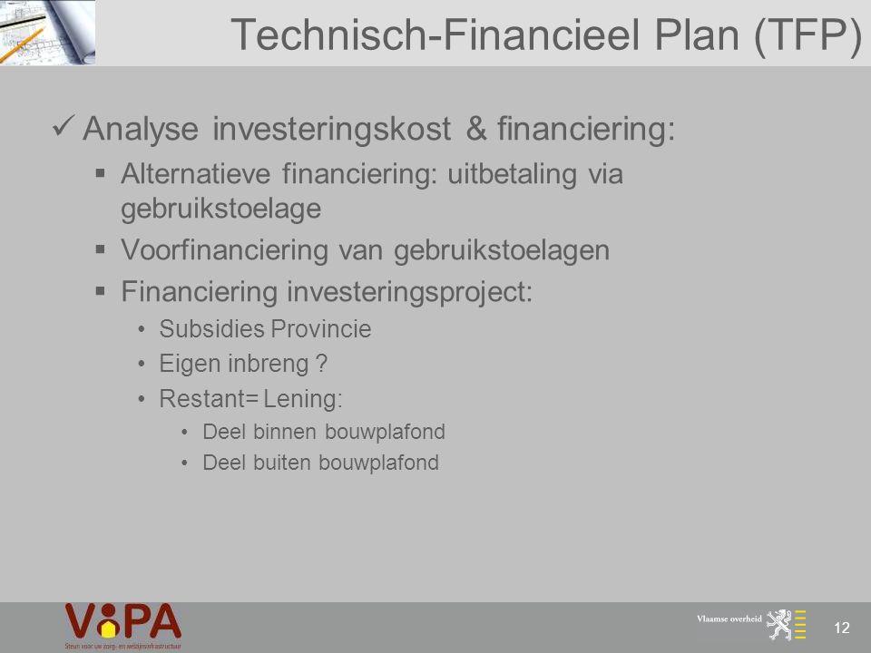 12 Technisch-Financieel Plan (TFP) Analyse investeringskost & financiering:  Alternatieve financiering: uitbetaling via gebruikstoelage  Voorfinanci