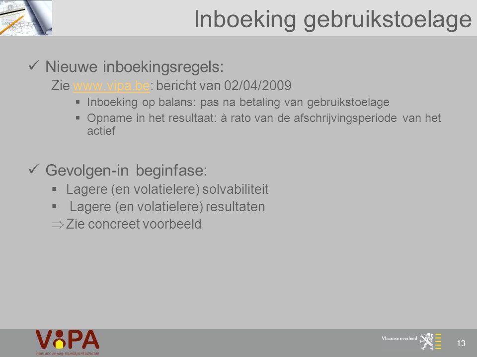 13 Inboeking gebruikstoelage Nieuwe inboekingsregels: Zie www.vipa.be: bericht van 02/04/2009www.vipa.be  Inboeking op balans: pas na betaling van ge
