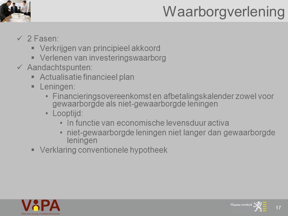 17 Waarborgverlening 2 Fasen:  Verkrijgen van principieel akkoord  Verlenen van investeringswaarborg Aandachtspunten:  Actualisatie financieel plan
