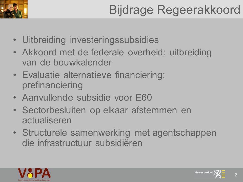 2 Bijdrage Regeerakkoord Uitbreiding investeringssubsidies Akkoord met de federale overheid: uitbreiding van de bouwkalender Evaluatie alternatieve fi
