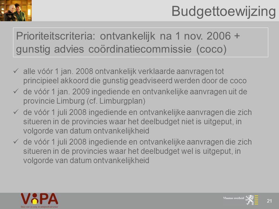 21 Budgettoewijzing Prioriteitscriteria: ontvankelijk na 1 nov. 2006 + gunstig advies coördinatiecommissie (coco) alle vóór 1 jan. 2008 ontvankelijk v