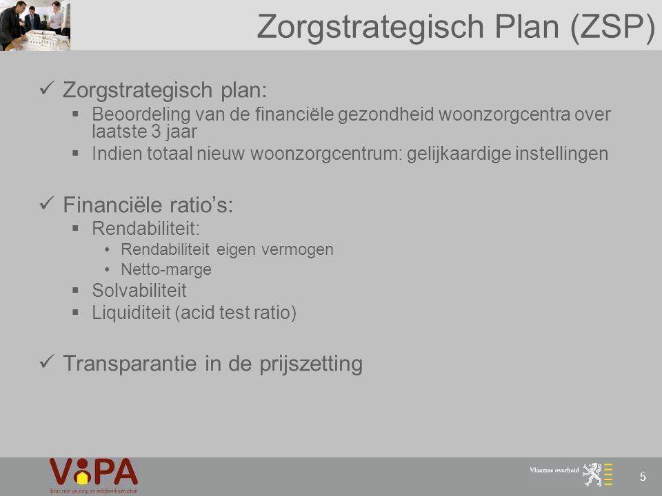 5 Zorgstrategisch Plan (ZSP) Zorgstrategisch plan:  Beoordeling van de financiële gezondheid woonzorgcentra over laatste 3 jaar  Indien totaal nieuw