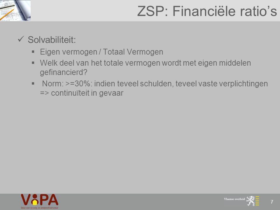 7 ZSP: Financiële ratio's Solvabiliteit:  Eigen vermogen / Totaal Vermogen  Welk deel van het totale vermogen wordt met eigen middelen gefinancierd?