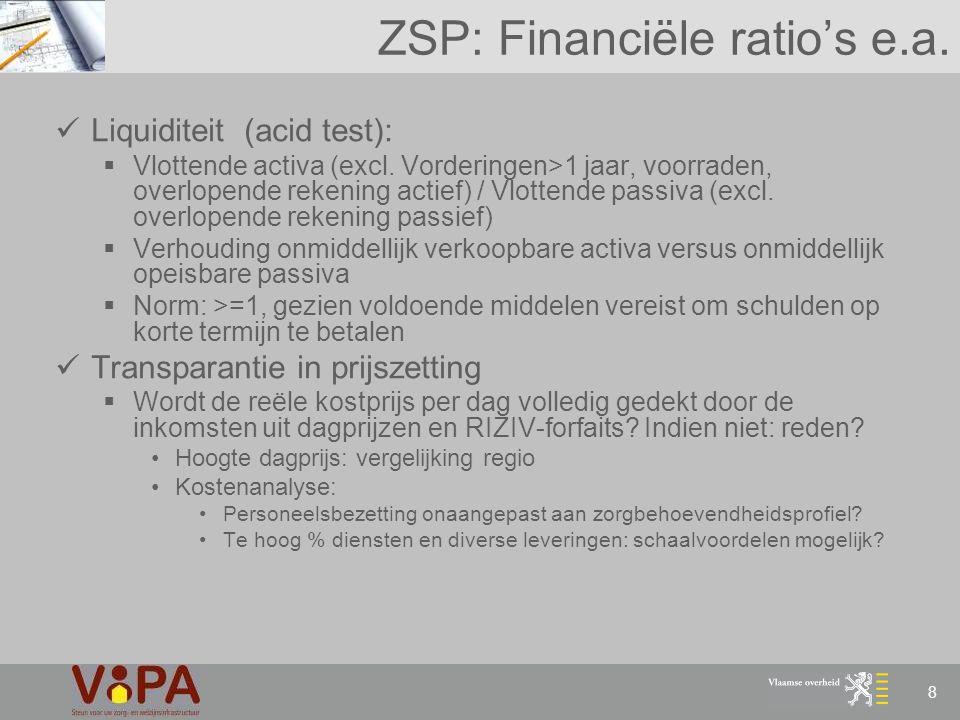9 Technisch-Financieel Plan (TFP) TFP:  Business plan betrokken project  Actualisatie financiële gegevens Actualisatie financiële gegevens:  Gegevens resultatenrekening & balans 3 jaar  Ratio's: Idem ZSP + bijkomende ratio's: Dekkingsgraad: intrestdekking Dekkingsgraad: totale dekking