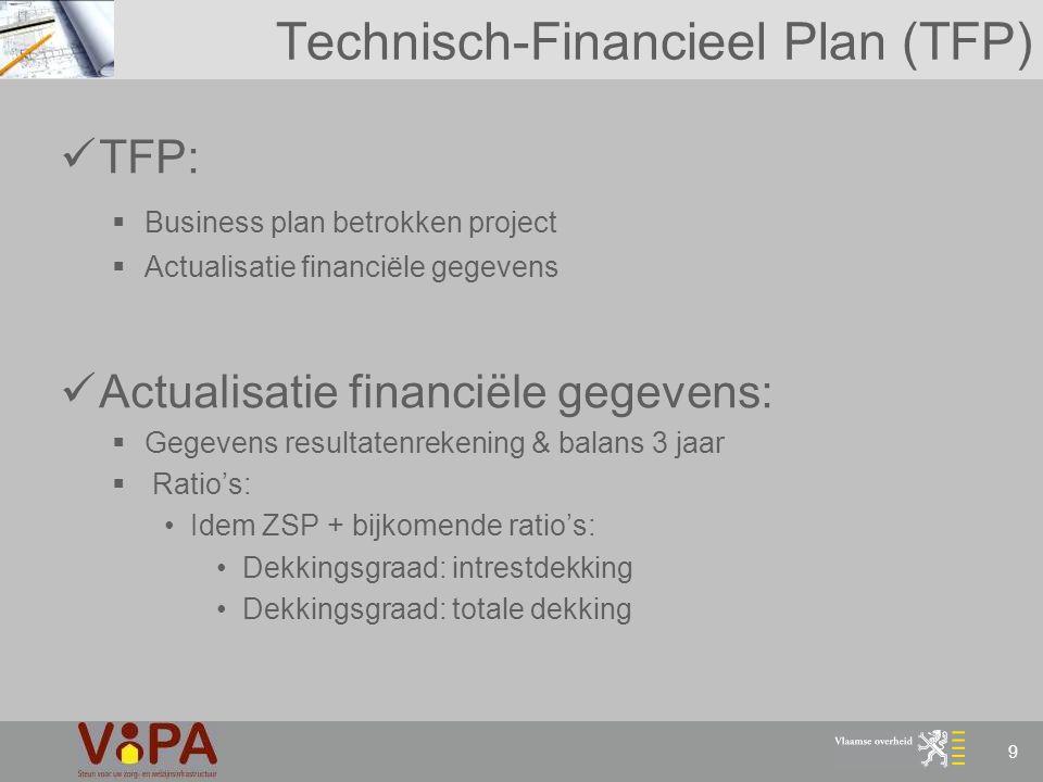 9 Technisch-Financieel Plan (TFP) TFP:  Business plan betrokken project  Actualisatie financiële gegevens Actualisatie financiële gegevens:  Gegeve