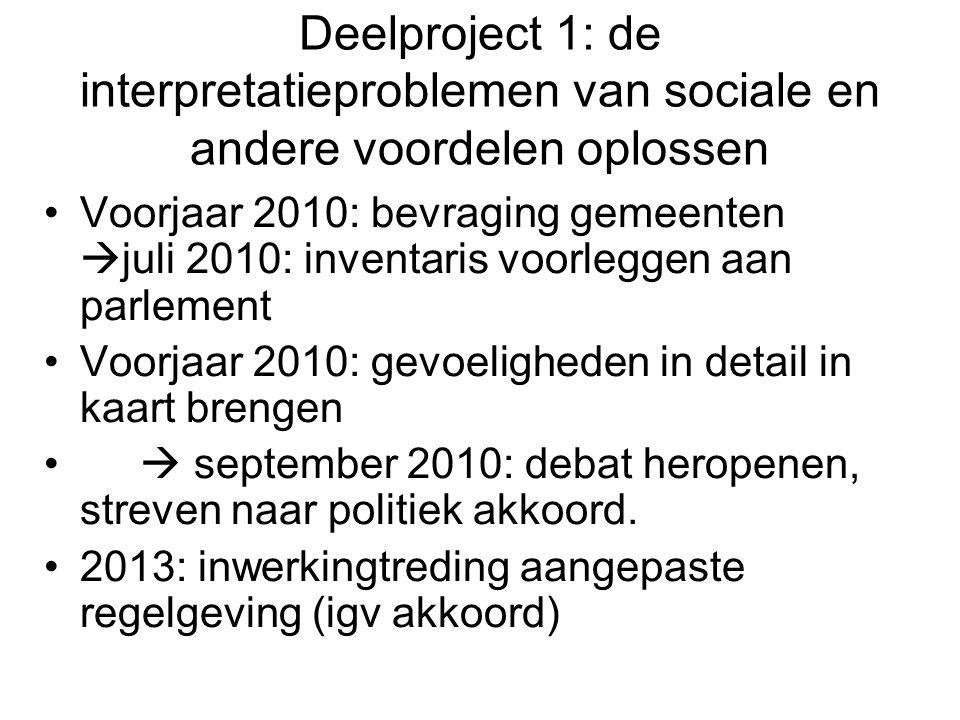 Deelproject 1: de interpretatieproblemen van sociale en andere voordelen oplossen Voorjaar 2010: bevraging gemeenten  juli 2010: inventaris voorlegge