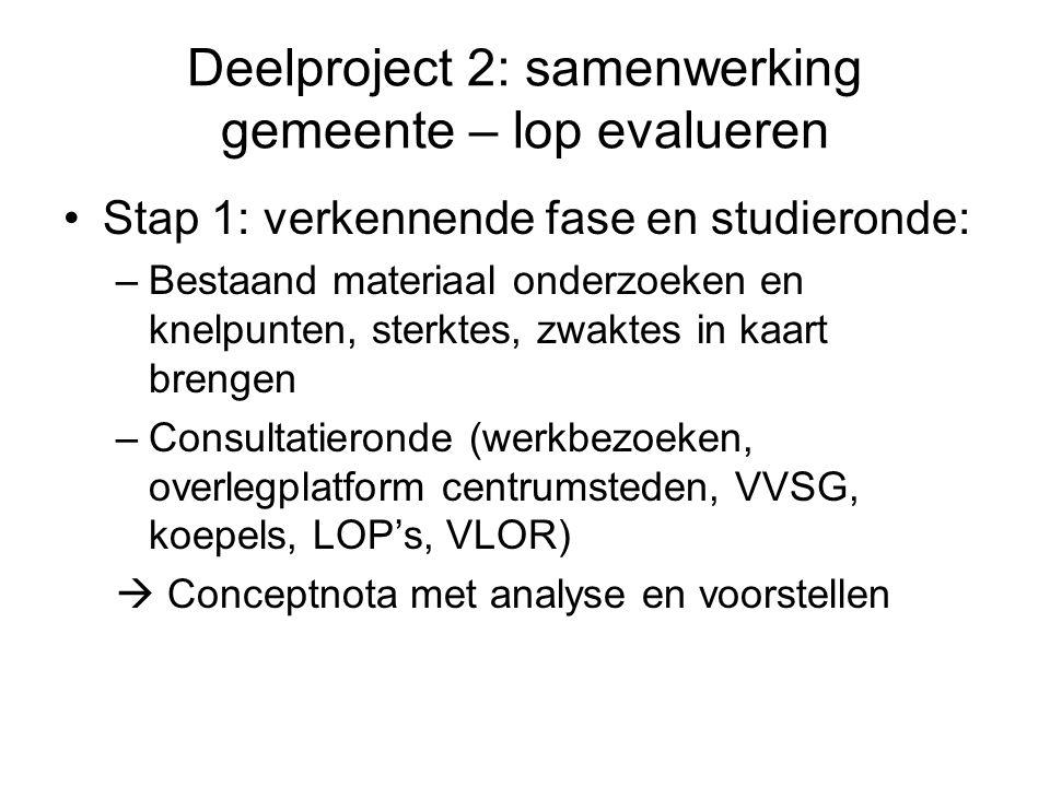 Deelproject 2: samenwerking gemeente – lop evalueren Stap 1: verkennende fase en studieronde: –Bestaand materiaal onderzoeken en knelpunten, sterktes,
