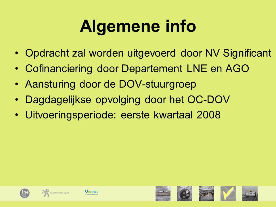 Algemene info Opdracht zal worden uitgevoerd door NV Significant Cofinanciering door Departement LNE en AGO Aansturing door de DOV-stuurgroep Dagdagelijkse opvolging door het OC-DOV Uitvoeringsperiode: eerste kwartaal 2008