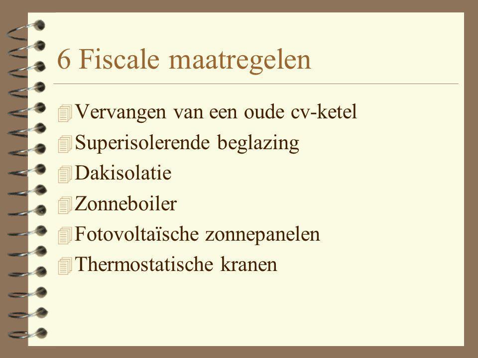 6 Fiscale maatregelen 4 Vervangen van een oude cv-ketel 4 Superisolerende beglazing 4 Dakisolatie 4 Zonneboiler 4 Fotovoltaïsche zonnepanelen 4 Thermostatische kranen