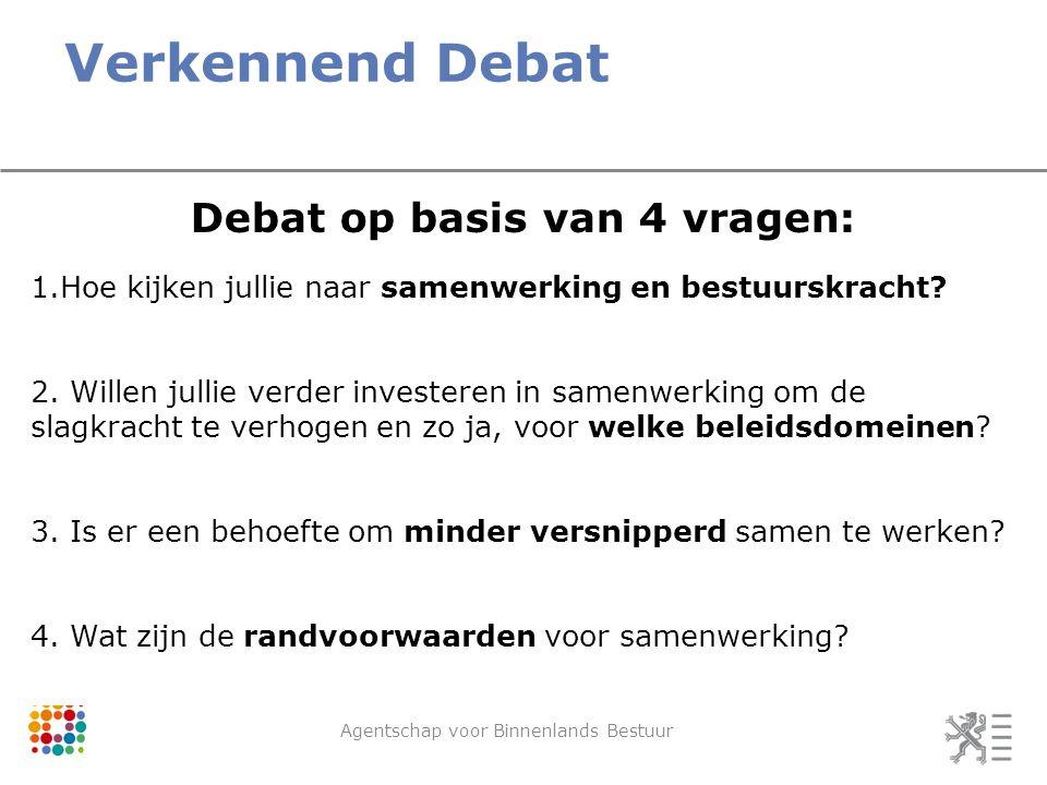 Verkennend Debat Agentschap voor Binnenlands Bestuur Debat op basis van 4 vragen: 1.Hoe kijken jullie naar samenwerking en bestuurskracht.