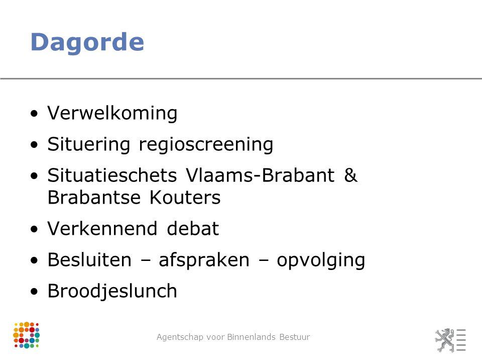 Dagorde Verwelkoming Situering regioscreening Situatieschets Vlaams-Brabant & Brabantse Kouters Verkennend debat Besluiten – afspraken – opvolging Broodjeslunch Agentschap voor Binnenlands Bestuur