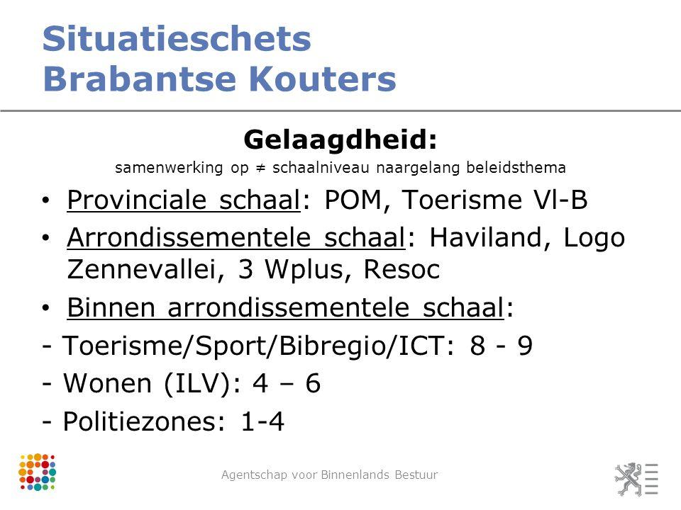 Situatieschets Brabantse Kouters Agentschap voor Binnenlands Bestuur Gelaagdheid: samenwerking op ≠ schaalniveau naargelang beleidsthema Provinciale schaal: POM, Toerisme Vl-B Arrondissementele schaal: Haviland, Logo Zennevallei, 3 Wplus, Resoc Binnen arrondissementele schaal: - Toerisme/Sport/Bibregio/ICT: 8 - 9 - Wonen (ILV): 4 – 6 - Politiezones: 1-4