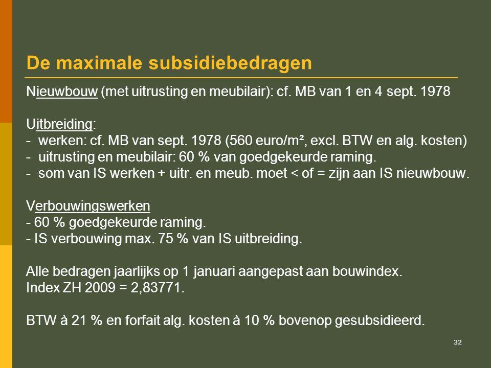 33 Voorbeeld van berekening van het basisbedrag aan subsidies AZ dient een project in voor uitbreiding met een verpleegeenheid met een subs.