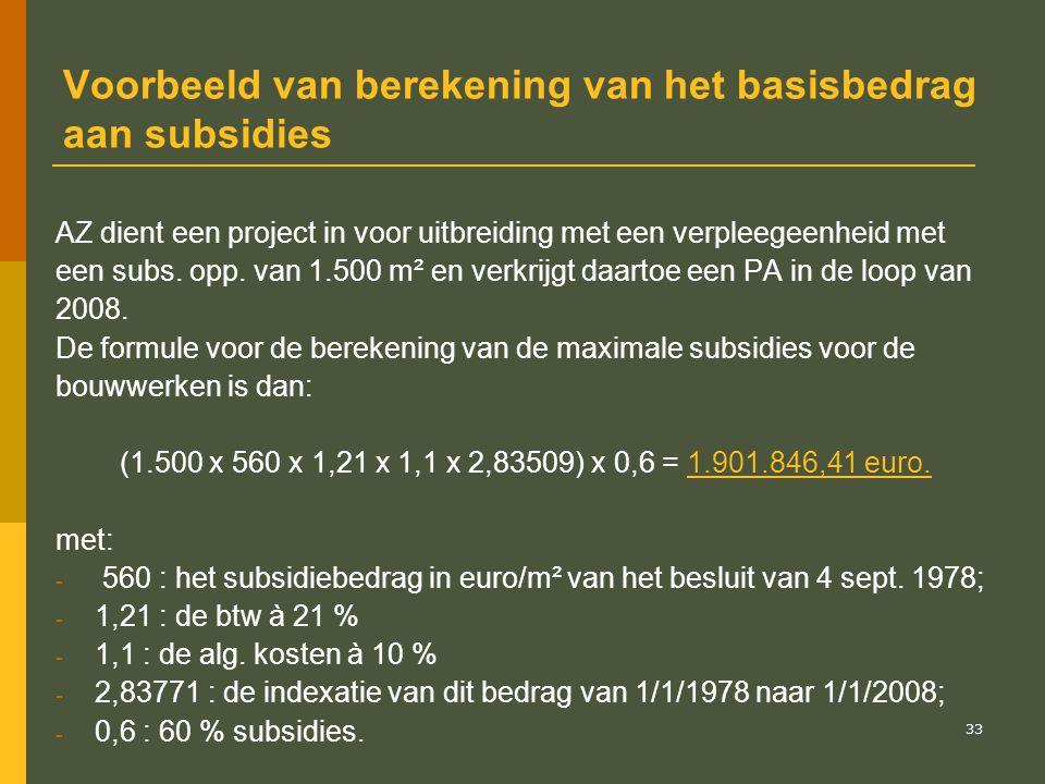 34 Voorbeeld van berekening van de gebruikstoelage Stel PA werd verleend op 1 oktober 2008 en het globale basisbedrag aan subsidies bedroeg 1.901.846,41 euro.