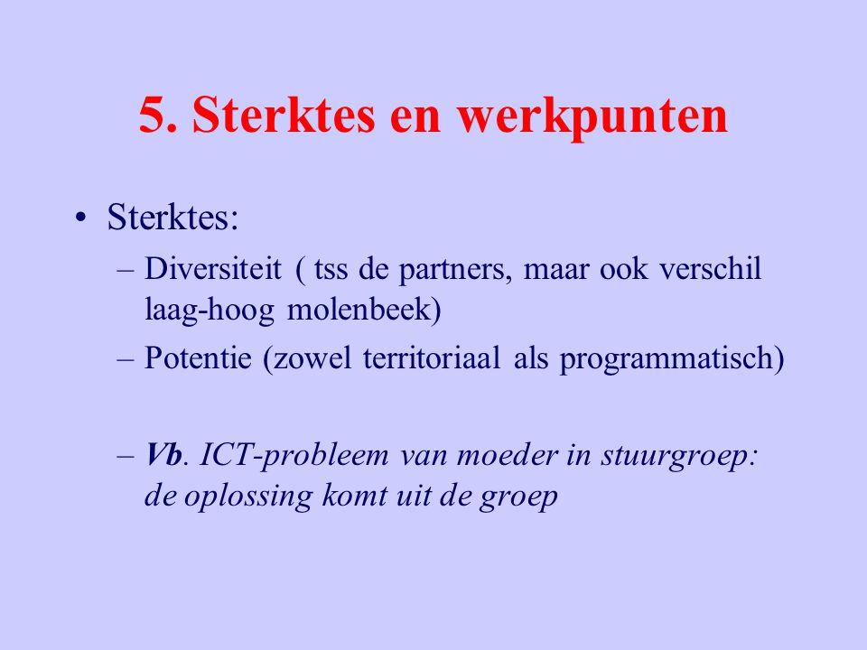 5. Sterktes en werkpunten Sterktes: –Diversiteit ( tss de partners, maar ook verschil laag-hoog molenbeek) –Potentie (zowel territoriaal als programma