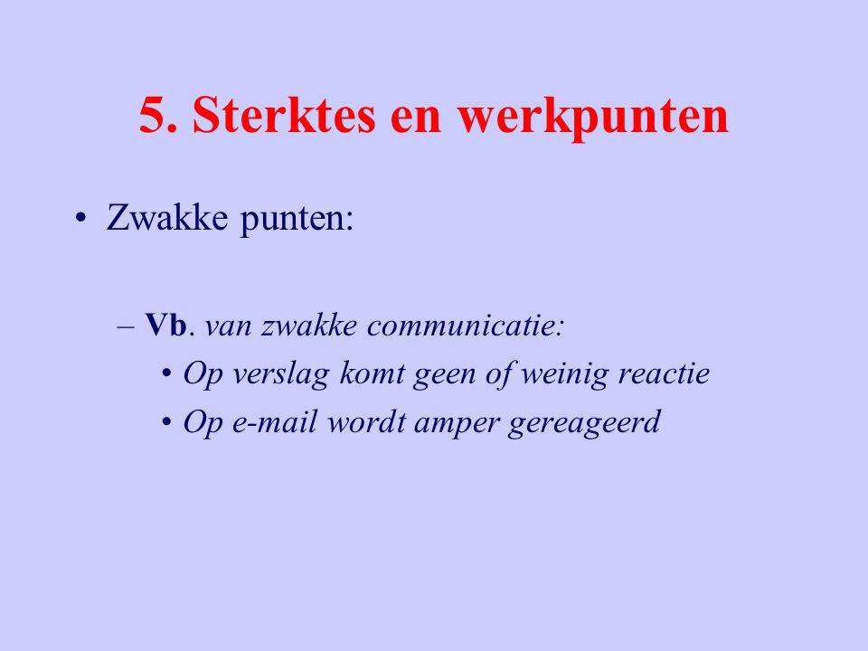 5. Sterktes en werkpunten Zwakke punten: –Vb. van zwakke communicatie: Op verslag komt geen of weinig reactie Op e-mail wordt amper gereageerd