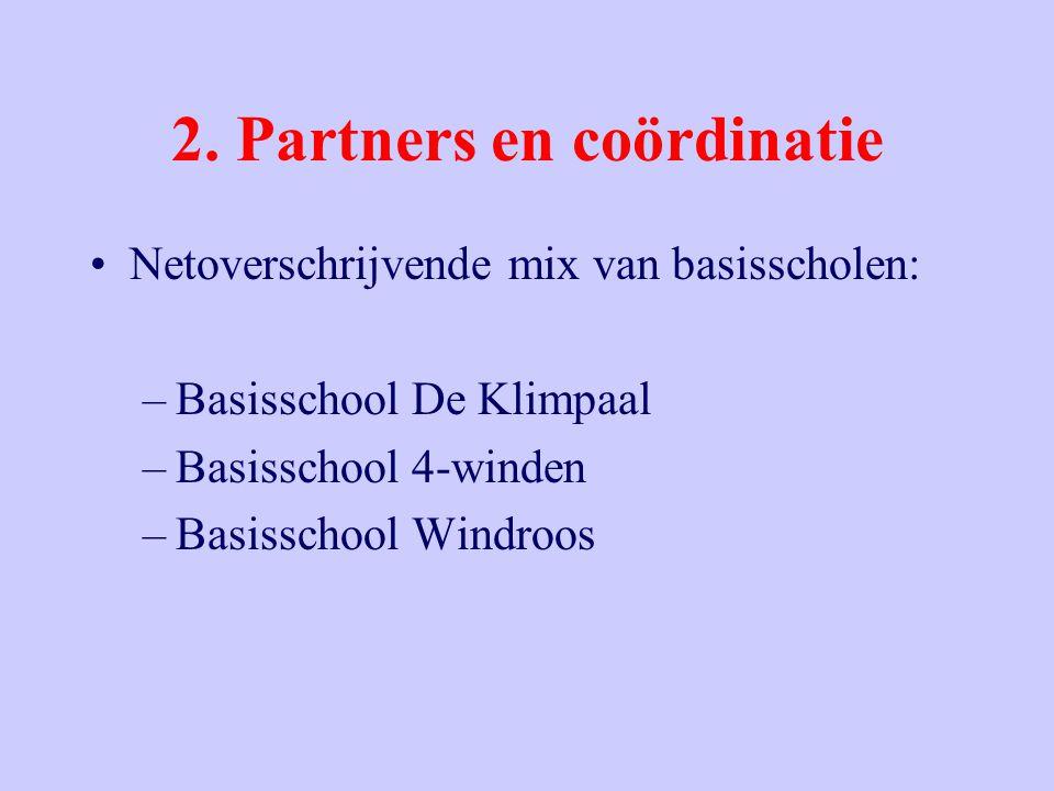 2. Partners en coördinatie Netoverschrijvende mix van basisscholen: –Basisschool De Klimpaal –Basisschool 4-winden –Basisschool Windroos