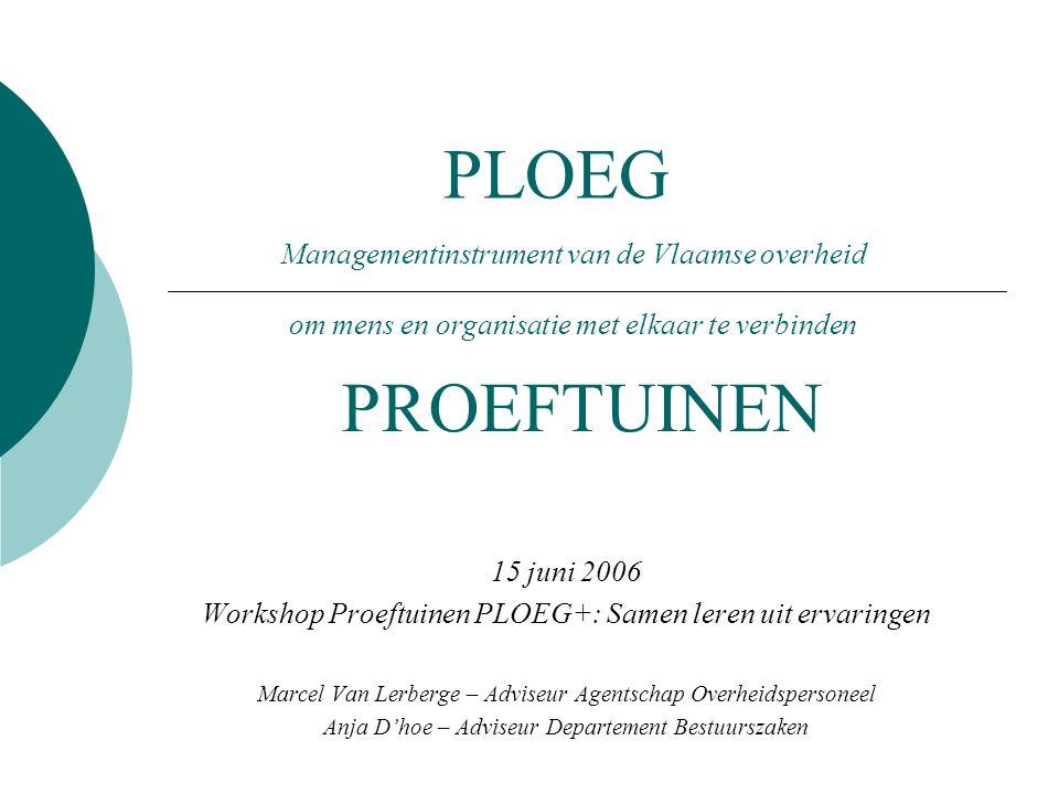 PLOEG 15 juni 2006 Workshop Proeftuinen PLOEG+: Samen leren uit ervaringen Marcel Van Lerberge – Adviseur Agentschap Overheidspersoneel Anja D'hoe – Adviseur Departement Bestuurszaken PROEFTUINEN Managementinstrument van de Vlaamse overheid om mens en organisatie met elkaar te verbinden