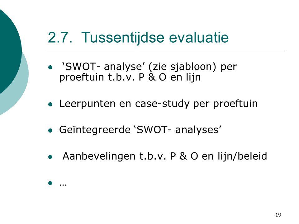 19 2.7. Tussentijdse evaluatie 'SWOT- analyse' (zie sjabloon) per proeftuin t.b.v.
