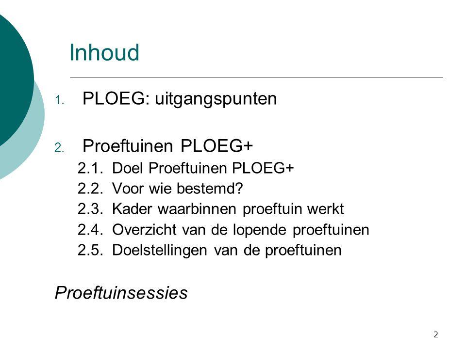 2 Inhoud 1. PLOEG: uitgangspunten 2. Proeftuinen PLOEG+ 2.1.
