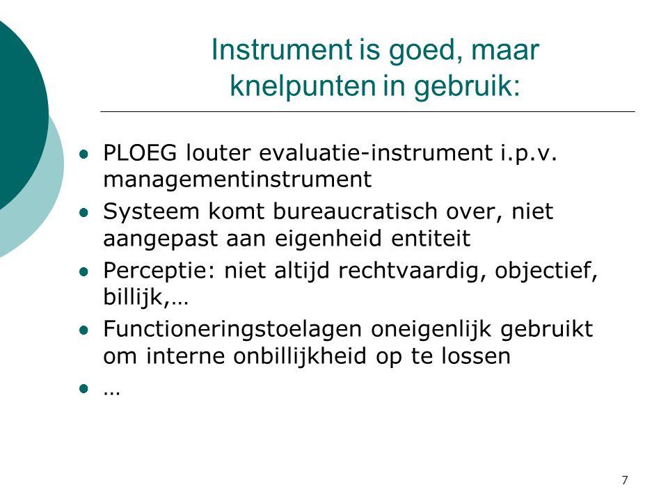 7 Instrument is goed, maar knelpunten in gebruik: PLOEG louter evaluatie-instrument i.p.v.