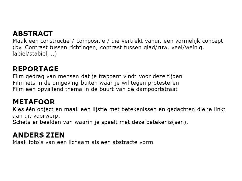 ABSTRACT Maak een constructie / compositie / die vertrekt vanuit een vormelijk concept (bv.