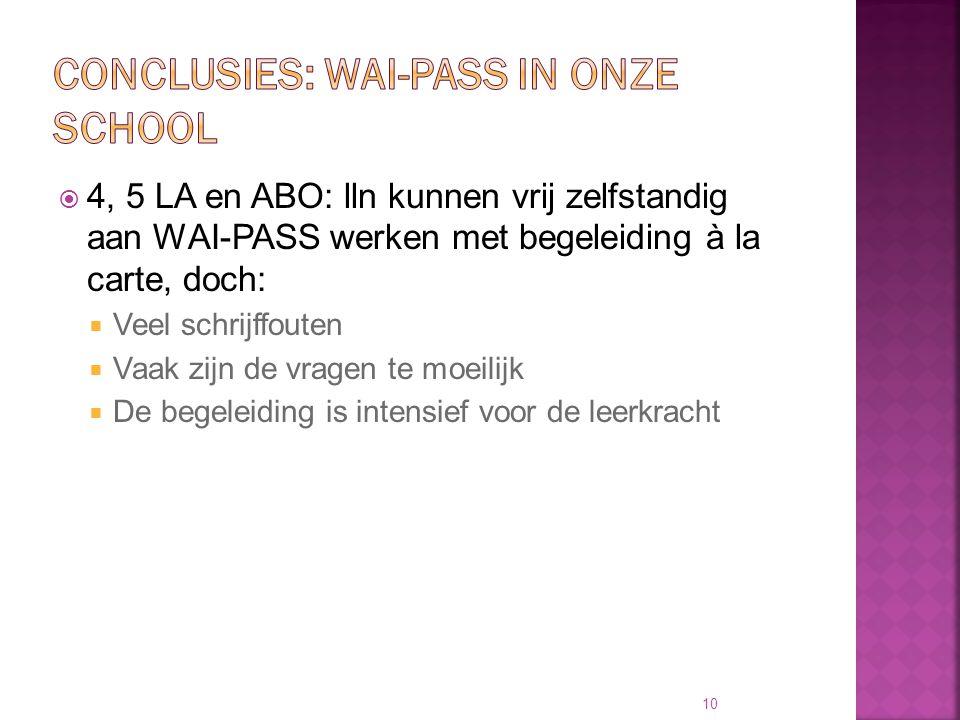  4, 5 LA en ABO: lln kunnen vrij zelfstandig aan WAI-PASS werken met begeleiding à la carte, doch:  Veel schrijffouten  Vaak zijn de vragen te moei